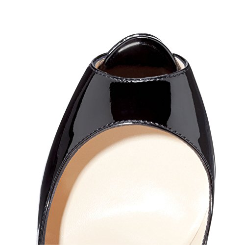 Heel Dress EKS High Gradient Toe Babbittlm bottom Heels Women's Color Thin Peep Pumps Black apricot qfZfIv