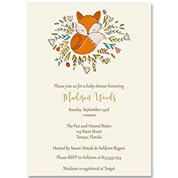 Amazoncom Little Fox Baby Shower Invitations Gender Neutral