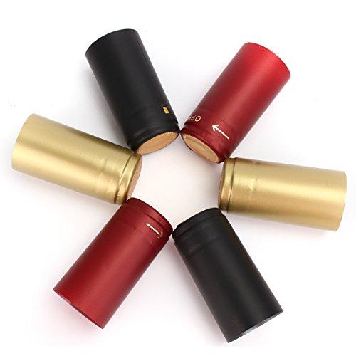 Vivona Hardware & Accessories 100Pcs Heat Shrink Cap PVC Tear Tape Wine Bottle Seal Ring Cover - (Color: Gold) by Vivona (Image #3)