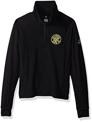 adidas MLS Columbus Crew Logo Driven 2.5 Heathered Quarter Zip Jacket, Medium, Black