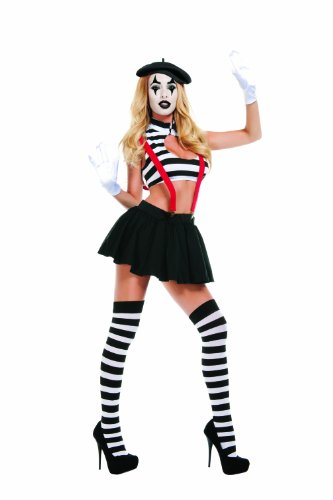 Starline Women's Sexy Hush Mime Costume Set, Black/White, Large]()