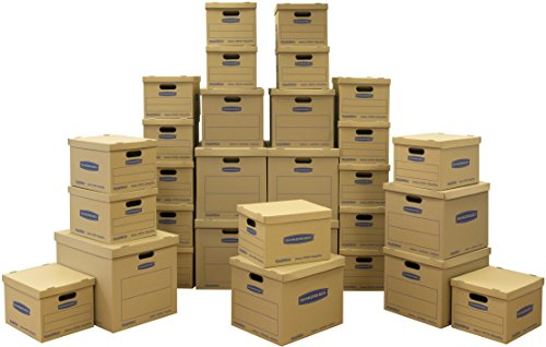 Bankers Box SmoothMove Classic Moving Kit Boxes, Tape-Free Assembly, Easy Carry Handles,)20 Small 5 Medium 5 Large, 30 Pack (7716501 ()