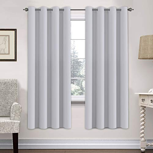H.VERSAILTEX White Curtains Blackout Thermal Insulated Room Darkening Curtain Panels - Window Treatments Grommet Drapes for Bedroom/Living Room - 52x72 Inch, Set of 2