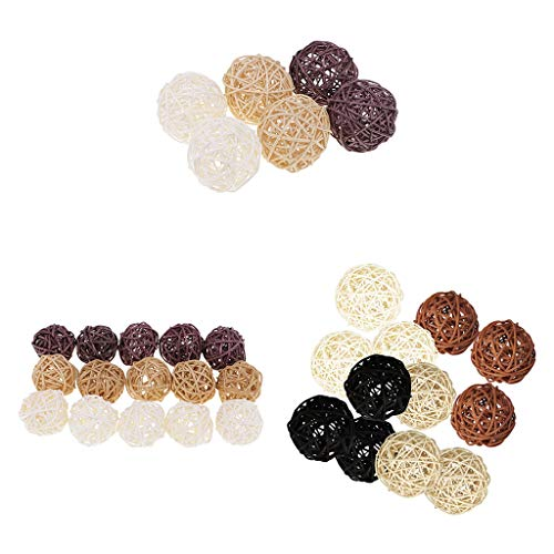 (SM SunniMix 33PCS Wicker Rattan Balls Orbs Vase Fillers DIY Crafts, Wedding Table Decoration, Themed Party, Baby Shower, Aromatherapy Accessories, Dia 30 50 70mm)