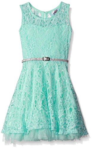 Beautees Little Girls' Sparkle Skater Dress with Thin Belt, Mint, (Girls Spring Dress)