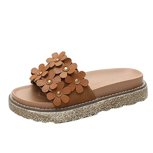 Toimothcn Women Slides Sandals Wedges Platform Shoes Leisure Thick Bottom Outdoor Slippers(Brown,US:5.5)