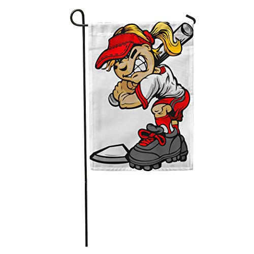 Semtomn Garden Flag Mascot Fast Pitch Softball Girl Cartoon Player Bat Ball Fastpitch Home Yard House Decor Barnner Outdoor Stand 28x40 Inches Flag