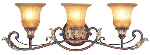 Bathroom Vanity 3 Light With Rustic Art Glass Verona Bronze with Aged Gold Leaf Accents size 30 in 300 Watts - World of Crystal - Verona 3 Light Vanity