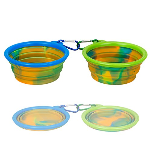 IDEGG Portable Silicone Pet Bowl, 5 Inches, Foldable Expandable Water Feeding Travel Bowl Cup Dish for Pet Dog Cat and Small Animals (Set of 2, Camouflage(Blue+Green)) ()
