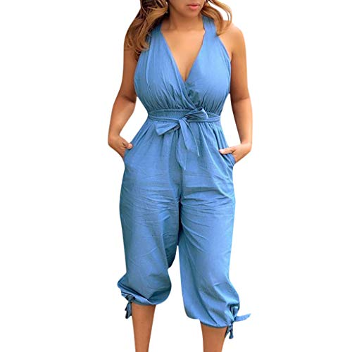 - LONGDAY Women Summer Jumpsuit Short Romper Halter V-Neck Tank Top Casual Baggy Pants Harem Plus Size Bodysuit Belted Blue