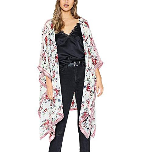 Realdo Clearance Sale, Women Fashion Womens Chiffon Shawl Print Kimono Cardigan Top Cover up Blouse Beachwear(White,XXX-Large) -