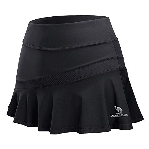 (CAMELSPORTS Women Casual Active Sport Skirt Tennis Golf Skorts Pleated for Athletic Running Workout with Built-in Shorts Black M)
