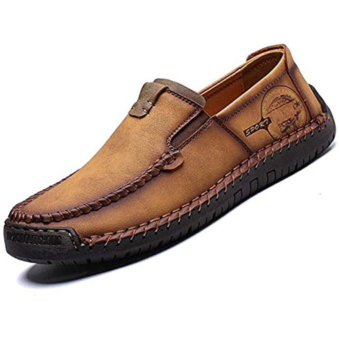 Qiucdzi Men's Casual Leather Loafer Breathable Driving Boat Shoes Lightweight Slip On Flats Walking Sneakers