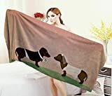 Anniutwo Dachshund,Bath Towel,Cute Groom Bride Dogs Marriage Themed Ceremonial Illustration Cartoon Style,Customized Bath Towels,Multicolor Size: W 19.5'' x L 39.5''