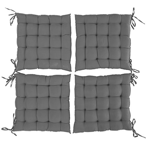 Levivo gepolsterte Sitzkissen im 4er Set, Stuhlkissen / Gartenkissen, ca. 40 x 40 x 5 cm, Grau