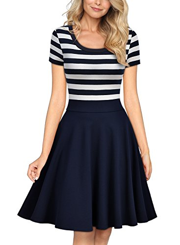 Stripe Casual Dress - Miusol Women's Casual Navy Style Stripe Scoop Neck Party Swing Dress