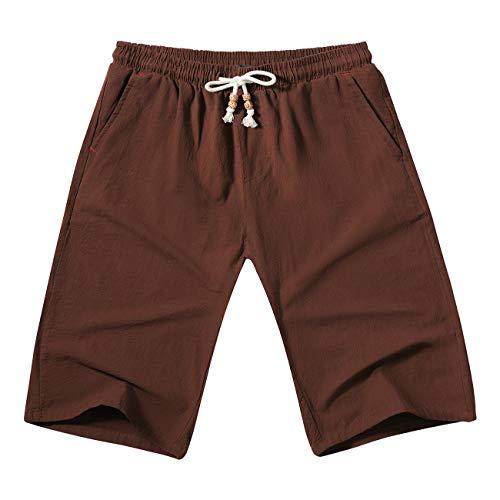 WULFUL Men's Casual Classic Fit Shorts Drawstring Summer Beach Linen Shorts ()