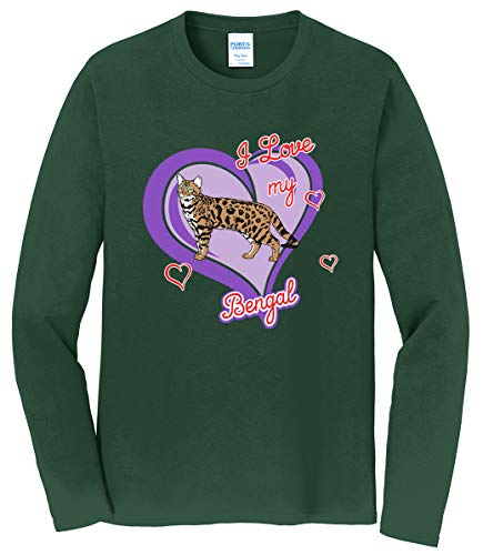 Tenacitee Men's Bengal Cat Long Sleeve T-Shirt, 6X-Large, Forest Green