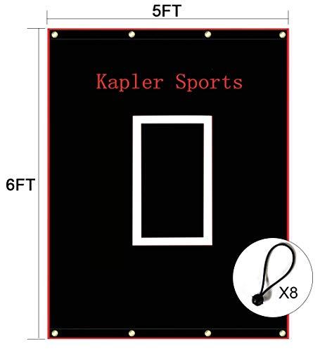 Kapler Vinyl Backstop Baseball/Softball Tarpaulin Backstop Batting cage Target with Bungees 5x6