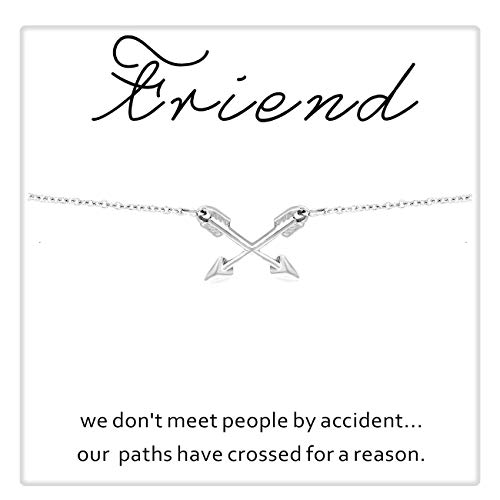 Zealmer CYBERNY Graduation Gift Best Friends Cross Arrow Pendant Necklace for Women with Inspirational Card Silver