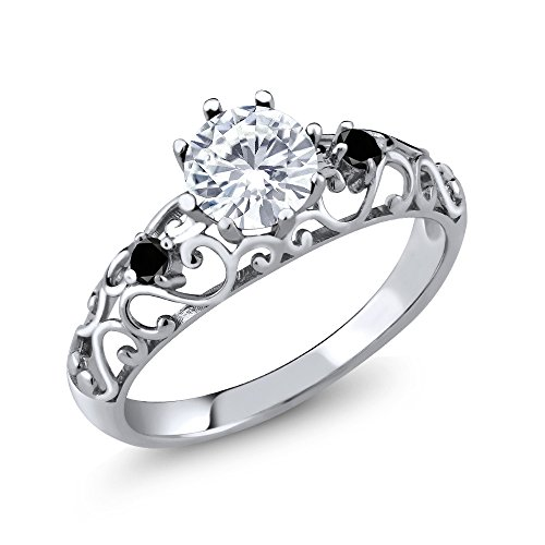 0.79 Ct Round White Created Moissanite Black Diamond 925 Sterling Silver Ring by Gem Stone King