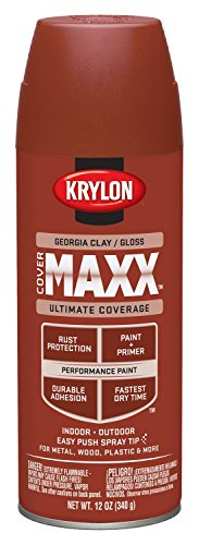 Krylon K09120000 COVERMAXX Spray Paint, Gloss Georgia Clay, 12 - Georgia Paint