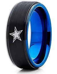 Blue Tungsten Wedding Band,Dallas Cowboys Ring,Football Wedding Band,Black Tungsten Ring,8mm Black Tungsten Ring