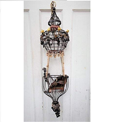 (Handmade Steampunk Hot Air Balloon, Air Ship Sculpture w/Beaded Trim, Brass Sundial Compass, 1894 Small Replica Metal Typewriter, Metal Man)