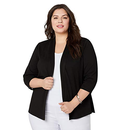 Avenue Women's Lace Up Sleeve Jacquard Jacket, 18/20 Black