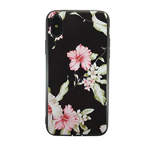 iPhone X Case, LFYH [Floral Series] Soft Silicone Shock Absorbing Bumper Flexible TPU Rubber Protective Case Cover for Apple iPhone X [Hibiscus Flower] -