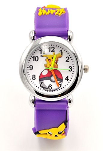 Hot Selling Pokemon Kids Watch Pikachu Watch 3D Silicone Wristwatch Gift Set for Kids, Boys or Girls (Purple)