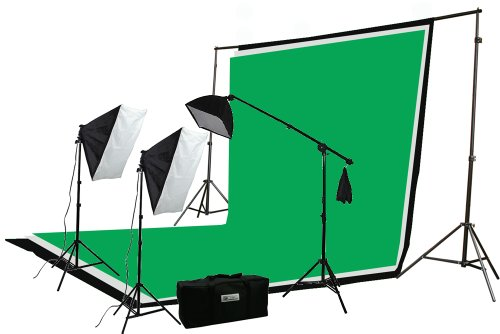 ePhoto Professional Photography Video Chromakey 10x12 Ft Green White Black Muslin Backdrop Support Kit & Softbox Hair light Boom Stand Kit by ePhotoInc H9004SB-1012BWG (10 12 Light X Box)