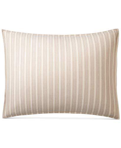 (Ralph Lauren Graydon Bold Stripe Pillow Sham Dune Linen King)