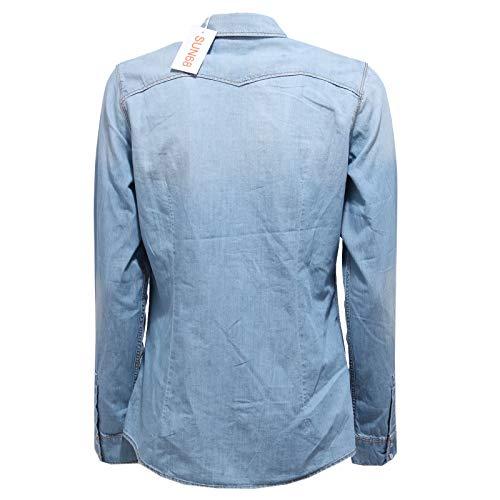 Sun Camicia Azzurro 68 Denim Donna Cotton Blue 6283y Shirt Vintage Delave' Light r6rgAWnfx