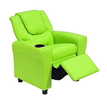 HOMCOM Sofa Infantil Reclinable 62x56-94x70-60cm LxAnxAl con Reposavasos Sillón Niños Cuero