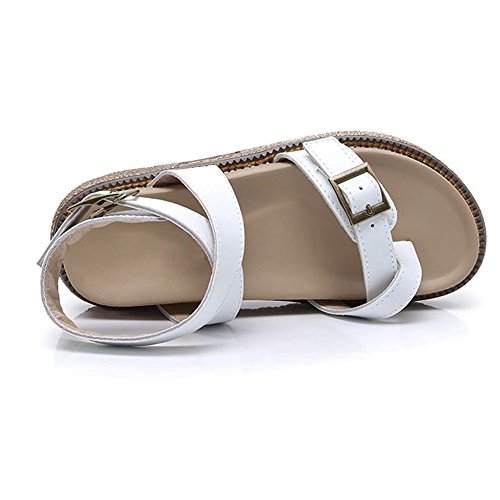 Cybling Femmes Filles Flatform Sandales Été Chunky Peep Toe Semelle Épaisse Romaine Blanc
