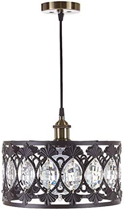 New Legend Lighting 1-Light Antique Black Finish Modern Crystal Chandelier Pendant Hanging Lighting Fixture