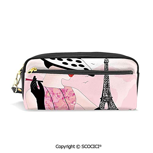 (Students PU Pencil Case Pouch Women Purse Wallet Bag Woman with Hat Smoking in Front of Eiffel Tower in Shabby Pink Design Decorative Waterproof Large Capacity Hand Mini Cosmetic Makeup Bag )