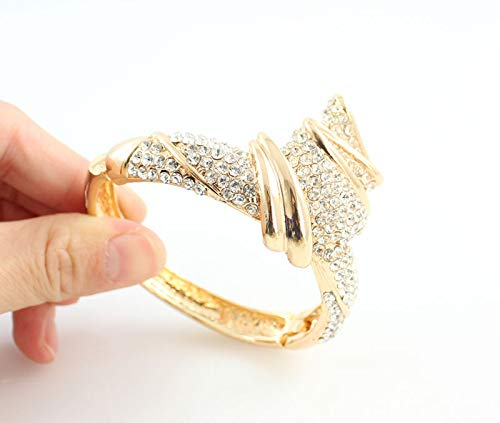 Wholesale Gold Color Alloy Rhinestone Wedding Jewelry Sets Necklace Bracelet Ring Earrings for Women Bridal