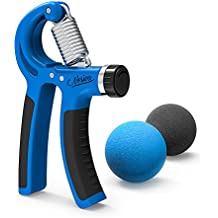 Grip Strengthener- Nosiva Forearm Exerciser & 2 Grip Stress Balls, Adjustable Resistance 22-88 Lbs Forearm Workout Hands Wrist Fingers Trainer with Non-slip Gripper for Athletes Pianists