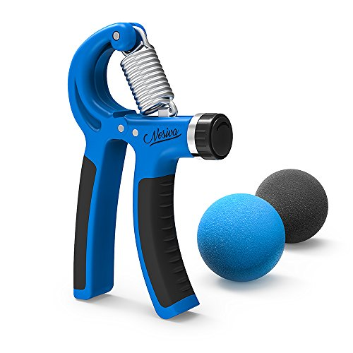 Grip Strengthener Nosiva Forearm Exerciser & 2 Grip Stress Balls, Adjustable Resistance 22 88 Lbs Forearm Workout Hands Wrist Fingers Trainer with Non slip Gripper for Athletes Pianists