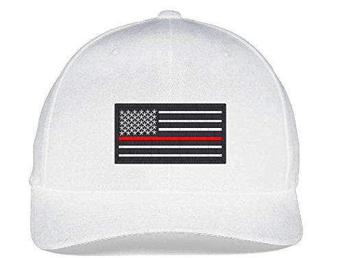 Fire White Cotton Spandex - USA Flag FireFighter Flexfit-White-S-M