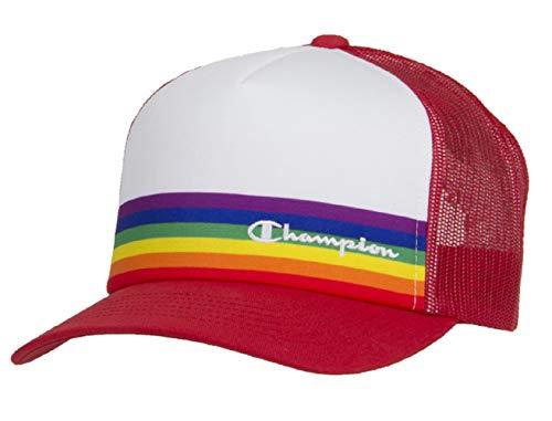 - Champion Men's Rainbow Pride Mesh Trucker Adjustable Snapback Hat (Red/White)