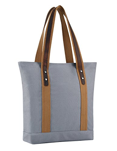 Plambag Canvas Genuine Leather Shopper Tote Retro Shoulder Bag(Gray) (Tote Leather Retro)