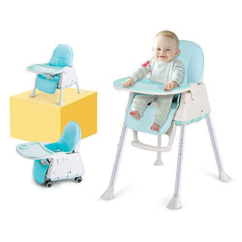 - High Chair, LYASI 3-in-1 Portable Highchair,Toddler Booster Seat,Baby Feeding Chair with Tray, Wheel & Cushion (Blue)
