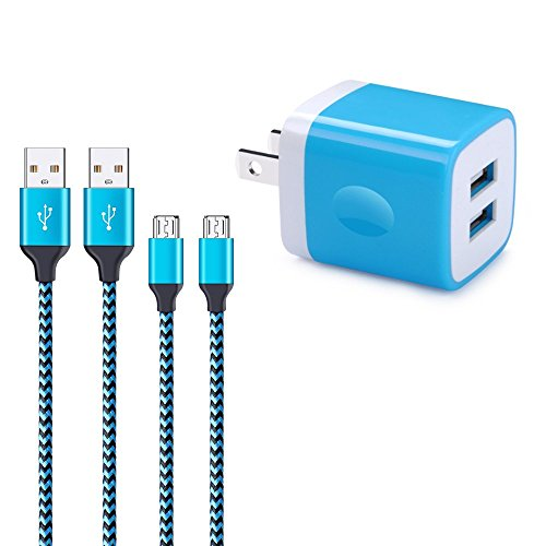 Wall Charger, Charger Box, FiveBox 2.1A Dual Port USB Wall Charger Cube USB Base Brick Phone Charging Block Plug With 2Pack 6ft Micro USB Cable Charger Cord For Samsung Galaxy S7 S6 edge J3 J7 Android