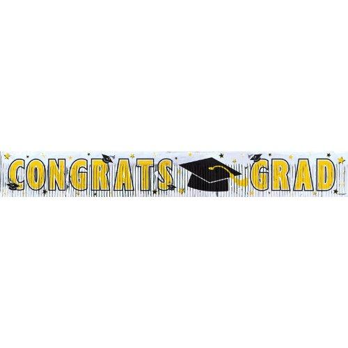 "Amscan Congrats Grad Graduation Party Metallic Fringe Banner Decoration, Yellow, 5' x 8"""