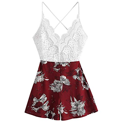 (ZAFUL Women's Boho Floral Print Lace Panel Criss Cross Knot Back Cami Romper (Red,)