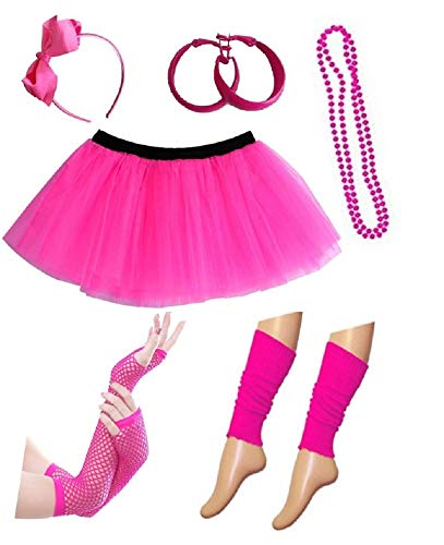 PartyStarz Womens 80s Costume Outfit Accessories - Tutu Skirt, Leg Warmers, Mesh Gloves, Bead Necklace, Hoop Earrings, Hair Bow -