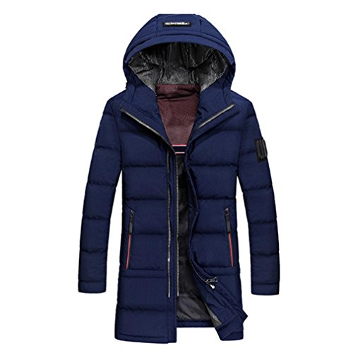 YANXH The New Men's Coat In the long Section Slim Hooded Down jacket , deep blue , l by YANXH outdoors